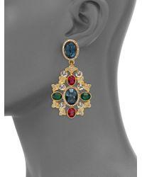 Kenneth Jay Lane | Metallic Multicolor Oval Filigree Drop Earrings | Lyst