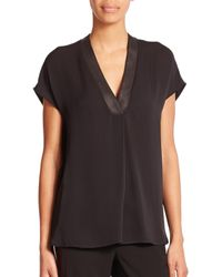 VINCE | Black Leather-trim Silk Blouse | Lyst