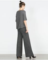 Zara | Gray Sweater With Rounded Hem | Lyst