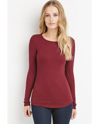 Forever 21 - Purple Classic Ribbed Knit Tee - Lyst