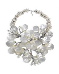 Aeravida | Metallic Colossal Floral Mother Of Pearl .925 Silver Necklace | Lyst