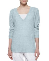 Eileen Fisher - Blue Long-sleeve Speckled Linen Tunic - Lyst