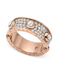 Michael Kors | Metallic Rose Goldtone Crystal Accent Ring | Lyst