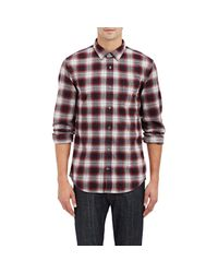 VINCE | Red Plaid Cotton-flannel Shirt for Men | Lyst