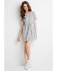 Forever 21 - White Striped Linen-blend Smock Dress - Lyst