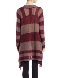 Free People | Purple Mock-neck Striped Poncho Sweater | Lyst