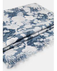 Mango - Blue Floral Cotton Scarf for Men - Lyst