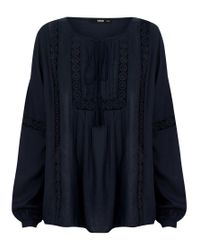 Oasis - Blue Dobby Peasant Blouse - Lyst