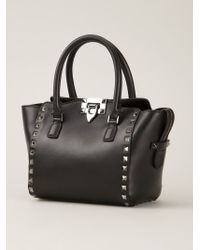Valentino | Black Rockstud Leather Trapeze Tote | Lyst