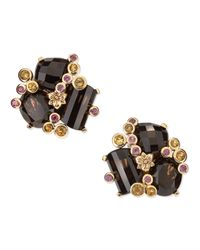 Stephen Dweck - Metallic Carved Gray Motherofpearl and Smoky Quartz Doublestone Clip Earrings - Lyst