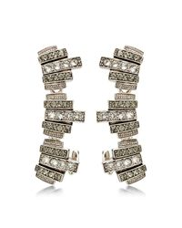 Ca&Lou - Metallic Silver Plated With Swarovski Crystals Lou Lou Lobo Earcuffs - Lyst