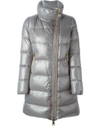 Moncler - Gray Metallic Padded Coat - Lyst