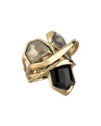 Alexis Bittar - Multi-stone Orbit W/ Fancy Pyrite, Pyrite Crystal Doublet & Black Crystal Kite Ring - Lyst
