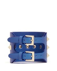 Valentino - Blue 'rockstud' Wide Leather Bracelet - Lyst