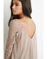 Forever 21 - Brown Lace-paneled Slub Knit Top - Lyst