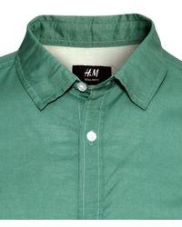 H&M - Green Short-sleeved Cotton Shirt for Men - Lyst