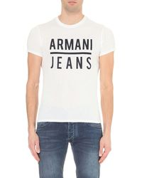 Armani Jeans | White Tonal Logo Cotton-jersey T-shirt for Men | Lyst
