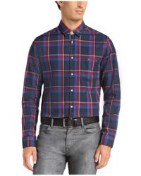 BOSS Green - Blue 'badru' | Regular Fit, Cotton Plaid Button Down Shirt for Men - Lyst