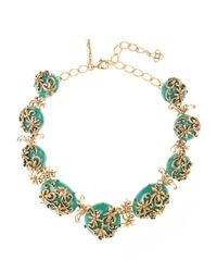 Oscar de la Renta | Metallic Jade Resin And Russian Gold Filigree Necklace | Lyst