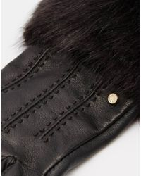 Ted Baker - Black Fur Lined Leather Glove - Lyst