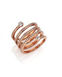 Michael Kors | Pink Park Avenue Glam Pave Spiral Ring/rose Goldtone | Lyst