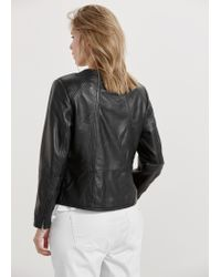 Violeta by Mango | Black Zip Leather Jacket | Lyst