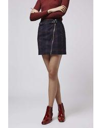 TOPSHOP - Blue Tall Check Biker Skirt - Lyst