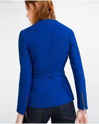 Zara   Blue Fabric Waist Blazer   Lyst