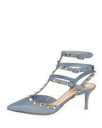 Valentino - Gray Rockstud Leather Pumps - Lyst