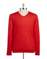 BOSS - Red Linen V-neck Sweater for Men - Lyst