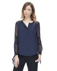 Rebecca Taylor - Blue Silk & Lace Blouse - Lyst