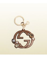 Gucci - Brown Gg Leather Charm With Swarovski Crystals - Lyst