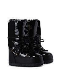 Love Moschino - Black Faux-Leather Moon Boots - Lyst
