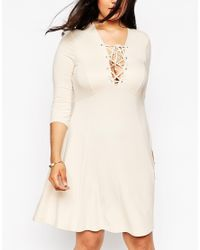 Asos Curve | Natural Lace Up Skater Dress | Lyst