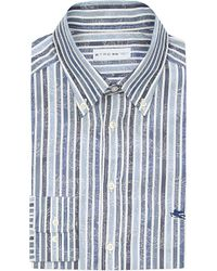 Etro | Blue Striped Cotton Shirt for Men | Lyst