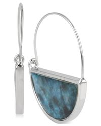 Kenneth Cole | Blue Silver-tone Shell Crescent Wire Hoop Earrings | Lyst
