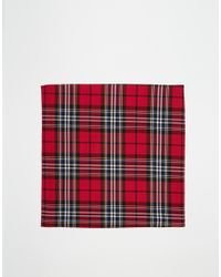 ASOS | Red Pocket Square In Tartan Print for Men | Lyst