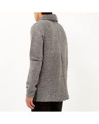 River Island - Gray Grey Cowl Neck Sweatshirt for Men - Lyst