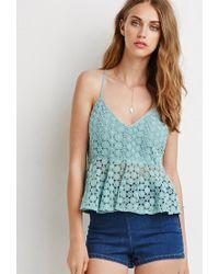 Forever 21 | Green Daisy Crochet Peplum Cami | Lyst