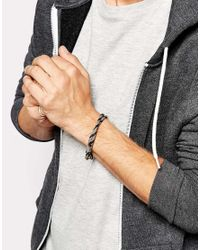 ASOS - Rope Bracelet In Gray for Men - Lyst