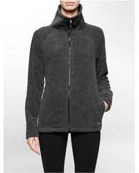 Calvin Klein | Gray White Label Performance Zip Front Fleece Jacket | Lyst