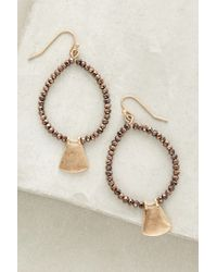 Anthropologie - Brown Chine Hoops - Lyst