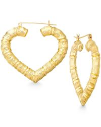 Macy's - Metallic Bamboo Heart Hoop Earrings In 10k Gold - Lyst