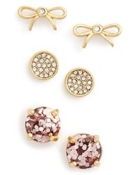 kate spade new york - Metallic Bow & Round Stud Earrings - Lyst