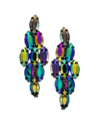 Material Girl - Blacktone Colorful Bead Diamondshaped Drop Earrings - Lyst