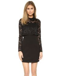 Parker - Black Luciana Combo Dress - Lyst