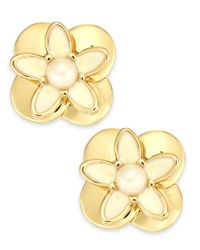 kate spade new york - Metallic New York Gold-tone Faux Pearl and Enamel Flower Stud Earrings - Lyst