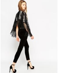ASOS | Metallic Sequin Stripe Mono Cape With Fringing | Lyst