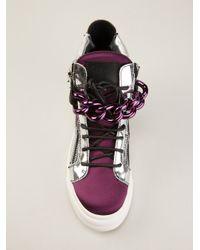 Giuseppe Zanotti - Pink Chain Detail Hitop Sneaker - Lyst