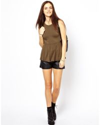 Glamorous - Natural Peplum Top With Chain - Lyst